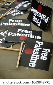 London, United Kingdom, 7st April 2018:- Placards near Downing Street in London to protest the recent killings of Palestinians in Gaza by the Israeli  army during of the Great Return March