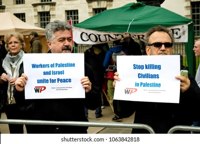 London, United Kingdom, 7st April 2018:- Protesters gather outside Downing Street in London to protest the recent killings of Palestinians in Gaza by the Israeli  army during of the Great Return March