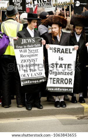London, United Kingdom, 7st April 2018:- Jewish men protest Israel during a protest in London by pro Palestine activists over recent killings in Gaza