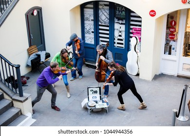 London, United kingdom, 7th March 2018:-A street performance in Covent Garden of a string quintet busking classical music