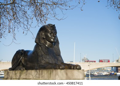 London, United Kingdom - April 02, 2013: Sphinx statue by the River Thames along the London Embankment