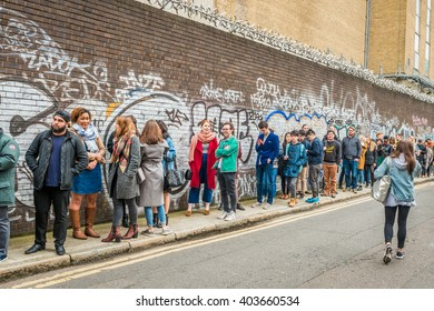 London, United Kingdom - April 09, 2016: The London Coffee Festival (07-10 April, Brick Lane, Old Truman Brewery). People queueing for entrance to the festival