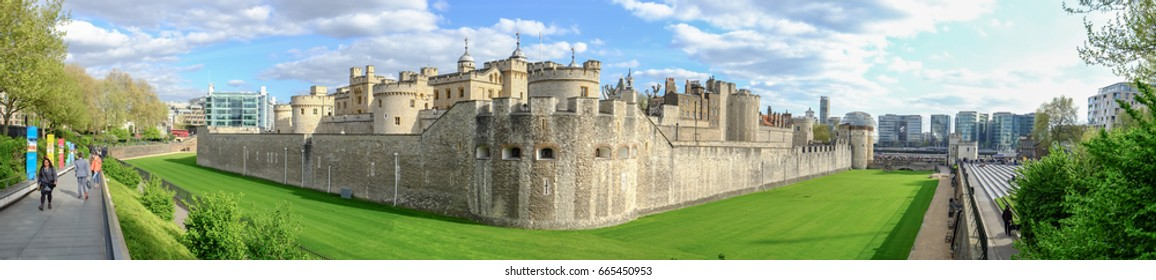 LONDON, UNITED KINGDOM - APRIL 10, 2017: Panorama image of the Tower of London. London is the world's most-visited city as measured by international arrivals.