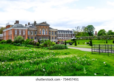 LONDON, UNITED KINGDOM - APRIL 13, 2017: Kensington Palace, London, UK with cloudy sky. The Palace has been a residence of the British Royal Family since the 17th century.
