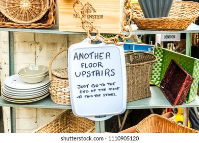 London, United Kingdom - April 14, 2018: Haynes Lane Market - a hidden gem weekend antiques and farmers market in  South London, Crystal Palace.