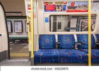 LONDON, UNITED KINGDOM  - APRIL 14, 2013: Empty underground wagon. The Underground system serves 270 stations and has 402 kilometres (250 mi) of track, 45 per cent of which is underground.