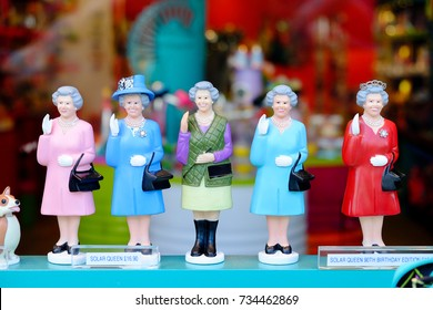 LONDON, UNITED KINGDOM - APRIL 14, 2017: The collection of The Queen dolls in a souvenir shop in London. The Queen Elizabeth II is the longest-reigning British monarch from 1952 to present.