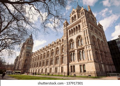 LONDON, UNITED KINGDOM - APRIL 16: Natural History Museum facade on April 16, 2013 in London, UK. The museum�s collections comprise almost 70 million specimens from all parts of the world.