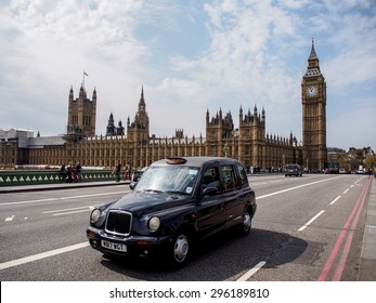 LONDON, UNITED KINGDOM - APRIL 16, 2015: The most famous London landmark Big Ben from Westminster bridge . London is the world's most-visited city as measured by international arrivals.