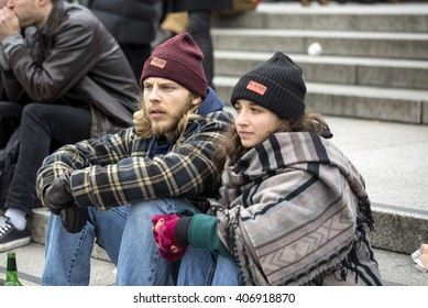London, United Kingdom - April 16, 2016: Anti-Austerity March. One of the interesting things in the renewed interest in politics by the people is the large number of younger people getting involved.