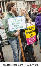 "London, United Kingdom - April 16, 2016: Anti-Austerity March. A quote from George Orwell's ""Animal Farm"" sums up how the protesters think the Conservatives approach governing."