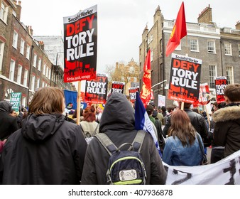 London, United Kingdom - April 16, 2016: Anti-Austerity March. One report had one hundred and fifty thousand people marching in London for the anti-austerity, anti-government march.