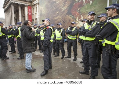London, United Kingdom - April 16, 2016: Anti-Austerity March.A lot of police were on duty for the march and rally after but, in the police's own words, the protesters were very well behaved.
