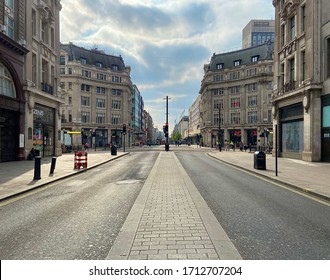 London / United Kingdom - April 18 2020: Empty Oxford Street during lockdown no people