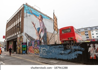 LONDON, UNITED KINGDOM - APRIL 18, 2014: Shoreditch, in the heart of the trendy East End of London, has become synonymous with the UK street art scene, attracting visitors from all over the world.