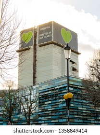 London, United Kingdom - April 1st 2019: Grenfell tower high above the rest of west London's streets, 2 year anniversary, forever in our hearts.