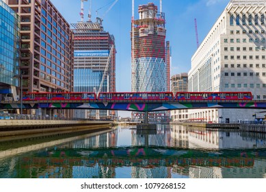 LONDON, UNITED KINGDOM - APRIL 20: This is a view of the Canary Wharf financial district modern architecture on April 20, 2018 in London