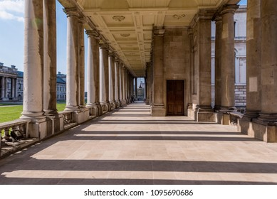 LONDON, UNITED KINGDOM - APRIL 20: Traditional architcture of the Old Greenwich Naval College an historic landmark and travel destination on April 20, 2018 in London