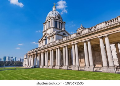 LONDON, UNITED KINGDOM - APRIL 20: View of the Old Greenwich Naval College an historic landmark and travel destination on April 20, 2018 in London
