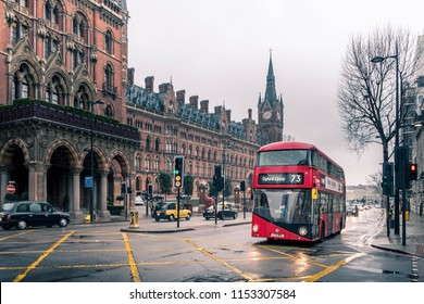 London, United Kingdom - April 2018 : London icon bus which is one of London's principal icon with red color and double decker type