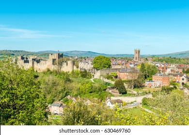 London, United Kingdom - April 23, 2017: Ludlow Castle and town - view from a hill, Ludlow, Shropshire, England, UK