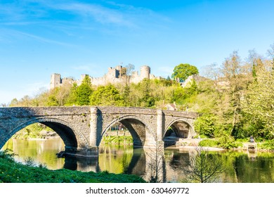 London, United Kingdom - April 23, 2017: Ludlow Castle and Dingham Bridge across the River Teme
