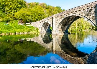 London, United Kingdom - April 23, 2017: Dingham Bridge across the River Teme