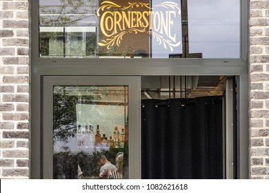 LONDON - UNITED KINGDOM - APRIL 24, 2018: Entrance to Cornerstone Restaurant,  Prince Edward Road, Hackney Wick. Taken on opening day.  Cornerstone is named after Arctic Monkeys' track.