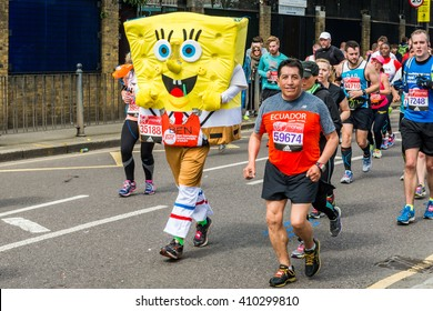London, United Kingdom - April 24, 2016: London Marathon 2016. Runners in Funny costumes. SpongeBob SquarePants