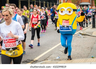 London, United Kingdom - April 24, 2016: London Marathon 2016. Runners in great costumes. Minion costume
