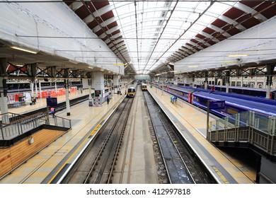 London, United Kingdom - April 25, 2016: Platforms in Paddington railway station. Paddington station opened May 29, 1854
