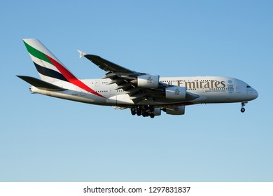 LONDON / UNITED KINGDOM - APRIL 26, 2016: Emirates airline Airbus A380 A6-EEE passenger plane landing at London Heathrow Airport