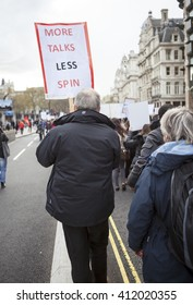 London, United Kingdom - April 26, 2016: March and Rally by the Junior Doctors.The junior doctors with the support of teachers, and other unionist, marched on Downing Street in their thousands.