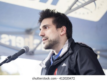 London, United Kingdom - April 26, 2016: A Junior Doctor Speaks at the Rally.The junior doctors with the support of teachers, and other unionist, marched on Downing Street in their thousands.