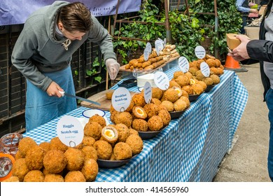 London, United Kingdom - April 30, 2016: Maltby Street Market in Bermondsey (located in railway arches, SE1, Rope Walk). Great artisan street food stalls and bars. Scotch eggs stall