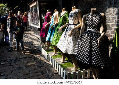 London, United Kingdom - April 30, 2016: Camden market - a very popular among tourists and locals place in London, with stalls, shops, pubs and restaurants. Dress mannequins