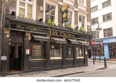 LONDON, UNITED KINGDOM - APRIL 30TH 2017: A traditional English pub called The Crown in Brewer Street, London.