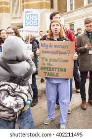 London, United Kingdom - April 6, 2016:The Fourth Junior Doctors' Strike. Singers, chanters, nurses, teachers, patients and lots of junior doctors turned up for the fourth Junior Doctors' strike rally