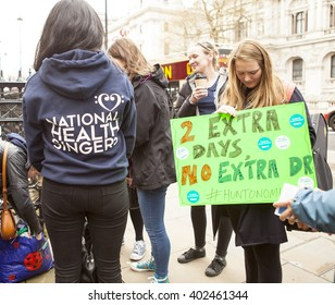 London, United Kingdom - April 6, 2016:The Fourth Junior Doctors' Strike. Singers from the National Health Singers performing at the junior doctors' rally outside the Department of Health