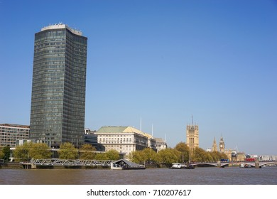 London, United Kingdom. April 9, 2017. Millbank Tower from Vauxhall, with Thames House and The Palace of Westminster Visible in The Background