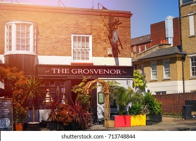 London, United Kingdom. April 9, 2017. The Grosvenor Resturant on Grosvenor Road, Pimlico, London