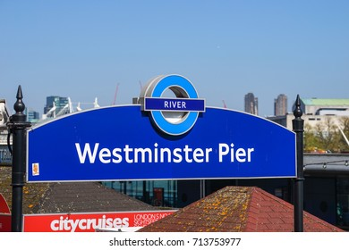 London, United Kingdom. April 9,2017. Westminster Pier Sign Post