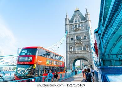 London / United Kingdom - AUG 27 2019: Tower Bridge crossing the River Thames in London, United Kingdom