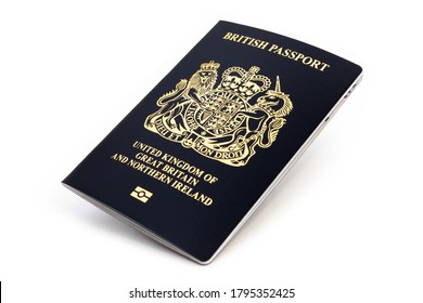 London, UNITED KINGDOM - AUGUST 1, 2020: British passport isolated on white background, new post-brexit edition in very dark blue almost black colour
