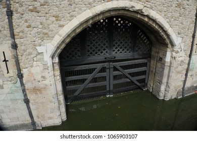 London, United Kingdom - August 12 2015: Traitor's Gate at the Tower of London
