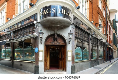 LONDON, UNITED KINGDOM - AUGUST 18, 2017: Nags Head Pub London on AUGUST 18, 2017. Famous Nags Head Pub at Covent Garden in London, United Kingdom.