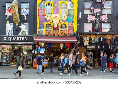 LONDON, UNITED KINGDOM - August 20, 2016: Camden Lock Bridge, famous alternative culture shops in Camden Town, London. Camden Town markets are visited by 100,000 people each weekend