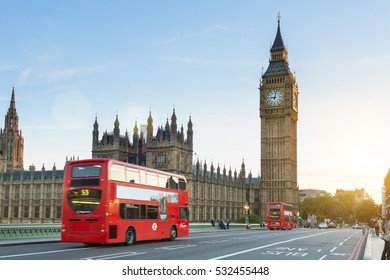 LONDON, UNITED KINGDOM - August - 20, 2016: Westminster palace and Big Ben and traffic on Westminster bridge in foreground