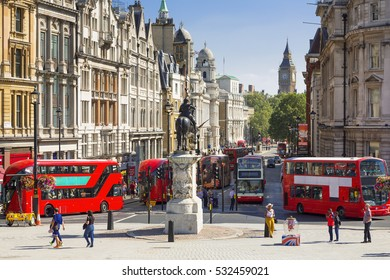 LONDON, UNITED KINGDOM - August 20, 2016: Traffic on Trafalgar square