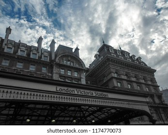 London, United Kingdom - August 2012: Outside view of London Victoria Station located in Belgravia.